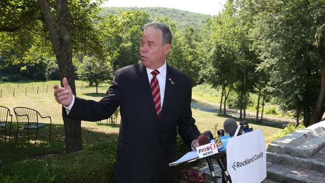 Rockland County executive Ed Day announces mandatory water restrictions at Torne Valley Vineyard in Hillburn July 21, 2016.
