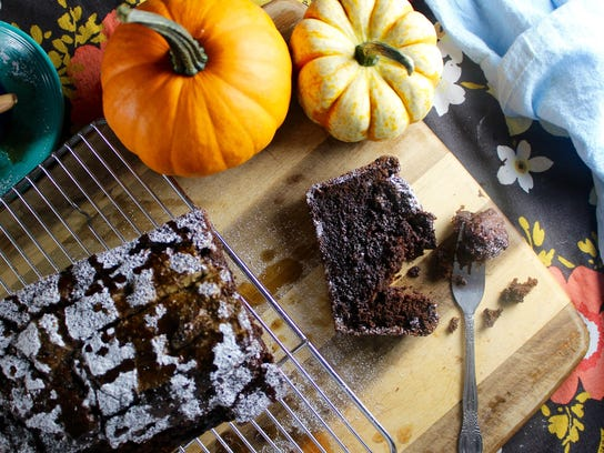 Dark Chocolate Pumpkin Bread is ready to eat in less