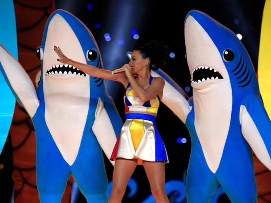Singer Katy Perry and Left Shark perform during the