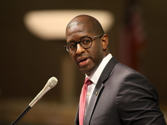 Mayor Andrew Gillum speaks during a City Commission meeting at City Hall.