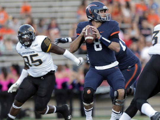 UTEP quarterback Zack Greenlee looks for a receiver