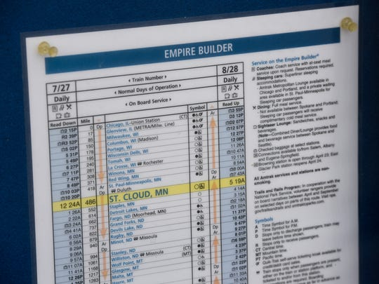 A schedule for the Empire Builder Amtrak service is posted Monday, April 24, at the train depot in St. Cloud.