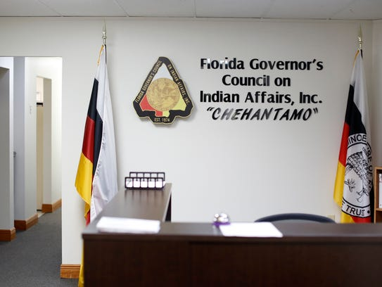 The front desk at the offices of the Florida Governor's Council on Indian Affairs, where D'Anna Osceola works as the executive assistant, pictured Nov. 15.