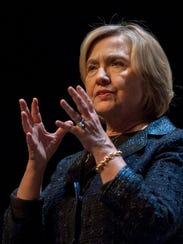 Hillary Rodham Clinton speaks in Saskatoon, Saskatchewan,