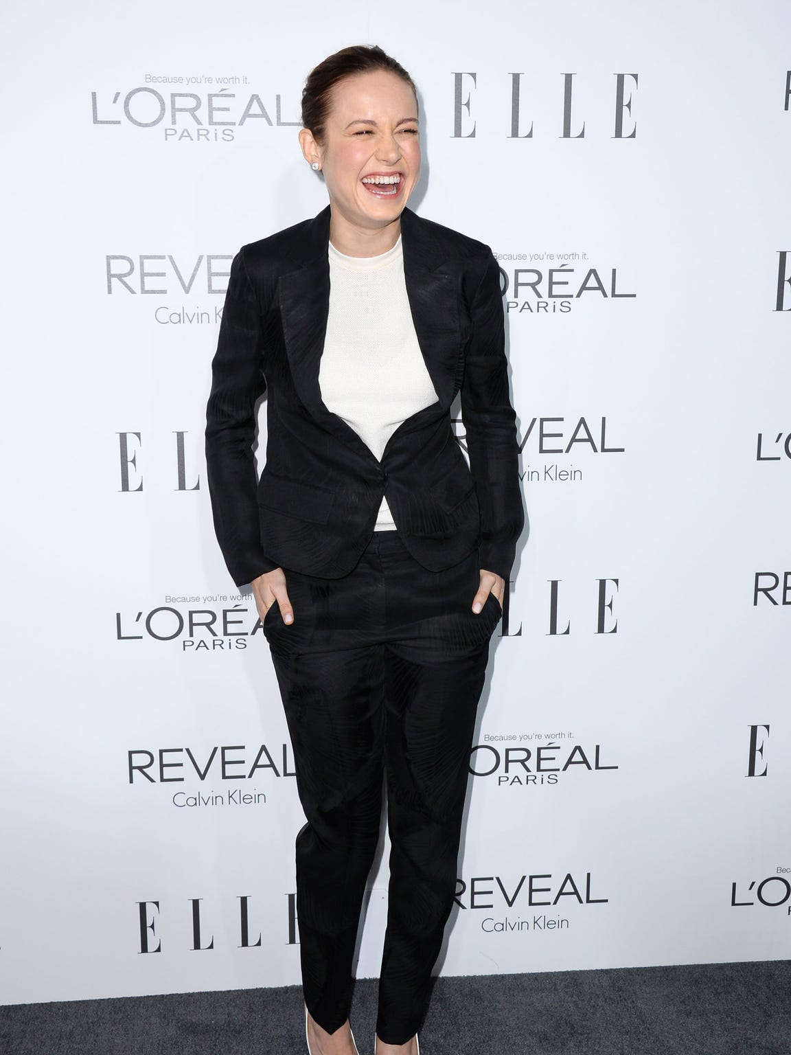 Brie Larson arrives at ELLE's 21st annual Women In Hollywood Awards at the Four Season Hotel on Monday, Oct. 20, 2014, in Los Angeles. (Photo by Jordan Strauss/Invision/AP)