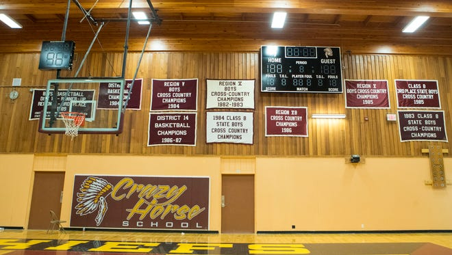 The new scoreboard at Crazy Horse High School Monday, July 16, 2018.