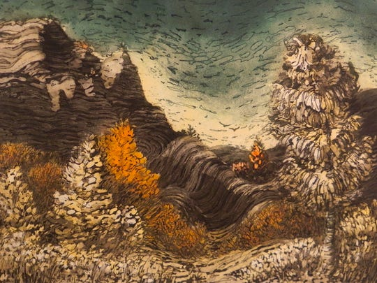 """Canyon Landscape in the Style of Van Gogh"" by Winfrey"