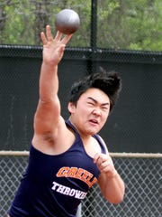 Tension Higashi of Horace Greeley competes in the shot put at the Joe Wynne Somers Lions Club Track and Field Invitational at Somers High School May 6, 2017.