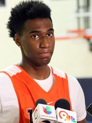 """6'3"""" guard Chris Barnes from Compton, CA was introduced to the media Thursday at the Foster-Stevens basketball complex at UTEP."""