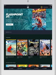 The home screen of DC Universe recommends popular stories