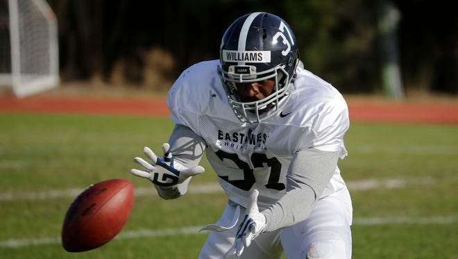 Linebacker Antwione Williams of Georgia Southern practices for the East West Shrine Game on Jan. 20, 2016, in St. Petersburg, Fla.