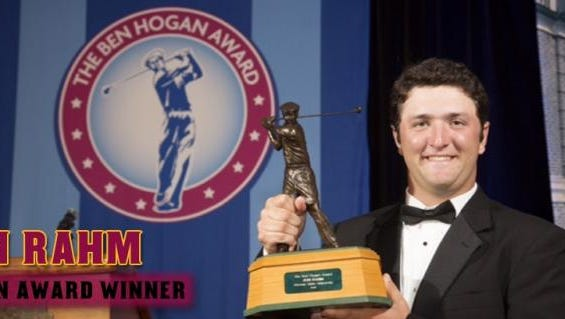 Jon Rahm holds up the trophy after being named the 2015 Ben Hogan Award winner, the first Sun Devil to win the award.