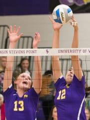 UWSP's Alexis Hartman, left, and Emma Brunkhorst go
