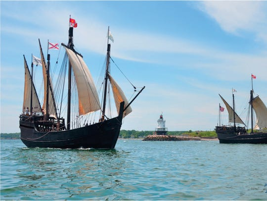 Replicas of Christopher Columbus' ships the Nina and the Pinta