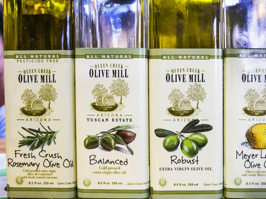 The Queen Creek Olive Mill sells local products such as olive oils, sauces, pastas and bread.