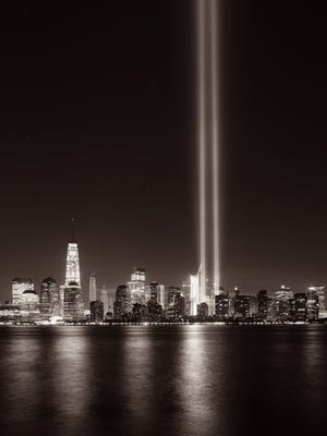 September 11 tribute light in NYC skyline