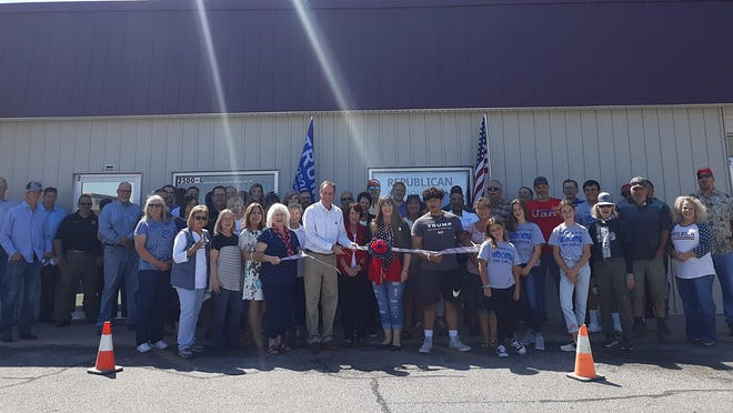 """""""Big First"""" congressional candidate Tracey Mann cuts the ribbon officially opening the Republican Party Headquarters building, located at 2500 Central Ave. Suite G. in Dodge City on Sept. 4. PHOTO BY JUDD WEIL/DODGE CITY DAILY GLOBE"""