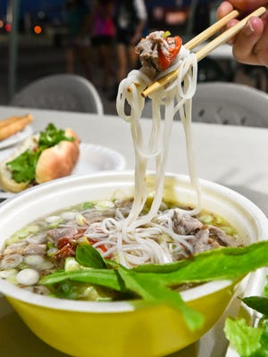 Beef soup is pictured from the Tra-Vinh Vietnamese Food Booth located at the Tiyan Liberation Carnival grounds.