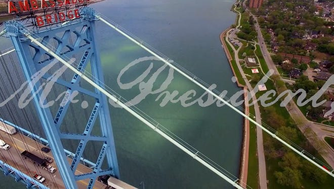 A screengrab showing the words Mr. President over an image of the ambassador bridge from the new TV commercial urging President Donald Trump to revoke a key permit that allows Canada to construct the new span.