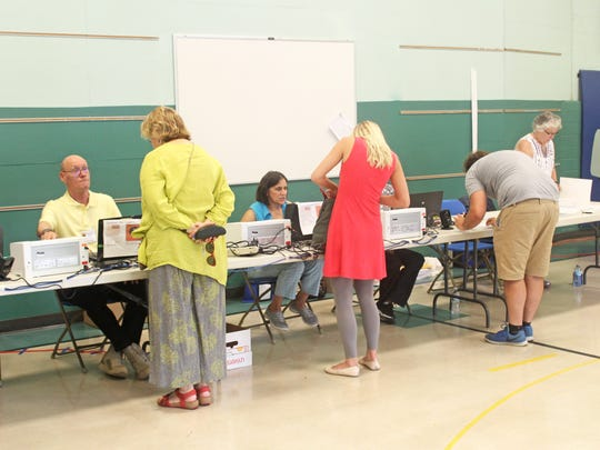 Voters prepare to vote in the Iowa City Community School District election at Mann Elementary on Sept. 12, 2017.