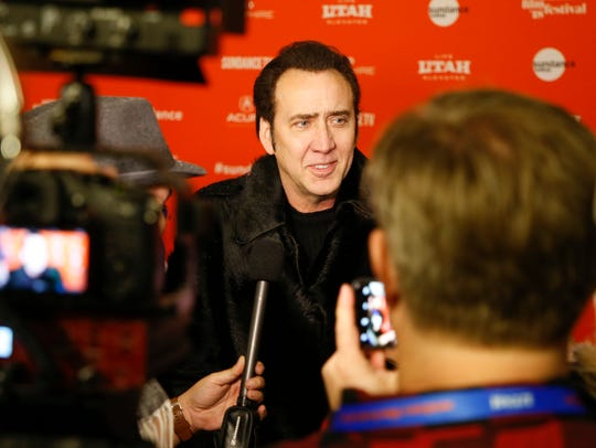 "Nicolas Cage is interviewed at the premiere of ""Mandy"""