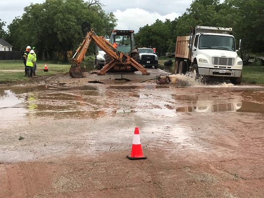 City of Abilene water crews are working on a water main break at North Ninth and Clinton streets on Wednesday.