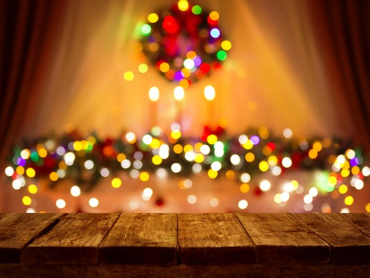 Christmas Table Blurred Lights Background, Wood Desk Focus, Wooden Plank