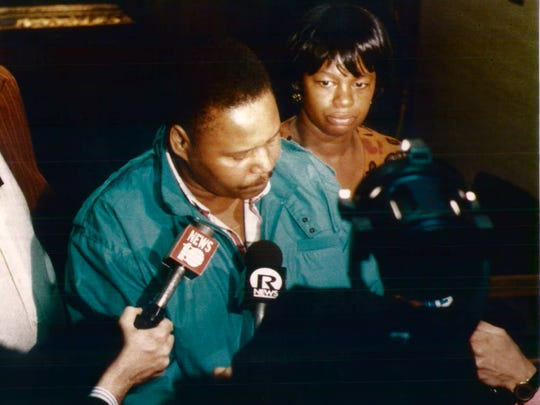 Dolphus and Constance Henton, parents of murder victim, Ralik, after their son's accused killer was acquitted of murder charges in 1993.