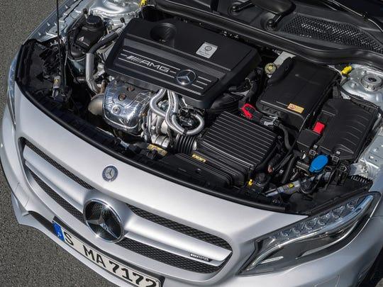 The 2015 Mercedes-Benz GLA 45 AMG has a 355-horsepower 2.0-liter four-cylinder engine.