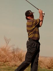Steve Haskins tees off from the 11th tee during the