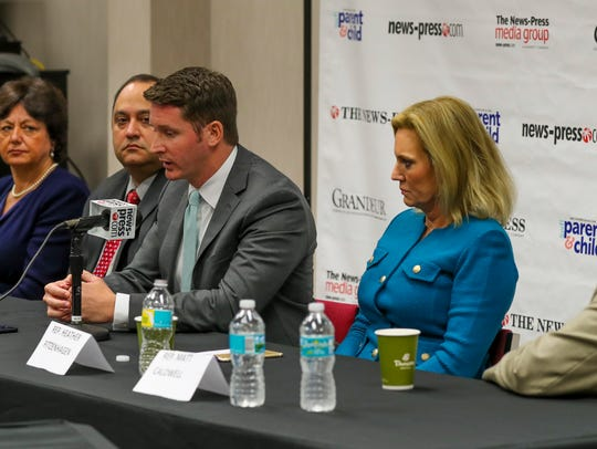Kathleen Passidomo, second from left, and Dane Eagle, fourth from left, join other members of the Southwest Florida legislation delegation, including, from left, Lizbeth Benacquisto, Ray Rodrigues, Heather Fitzenhagen and Matt Caldwell, during a meeting with The News-Press editorial board in February.