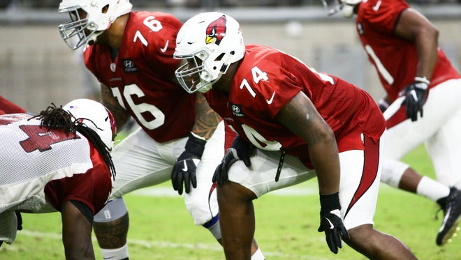 Arizona Cardinals (74) D.J. Humphries and (76) Mike Iupati during training camp on Jul. 24, 2017 in Glendale, AZ.