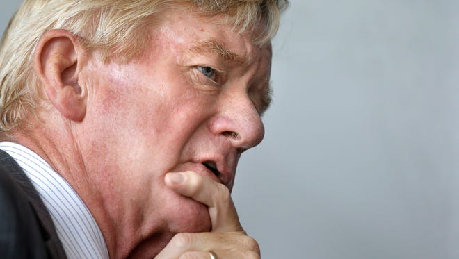 Libertarian vice presidential candidate, former Massachusetts Gov. William Weld takes questions from members of the media on the campus of Emerson College, Thursday, Sept. 8, 2016, in Boston.