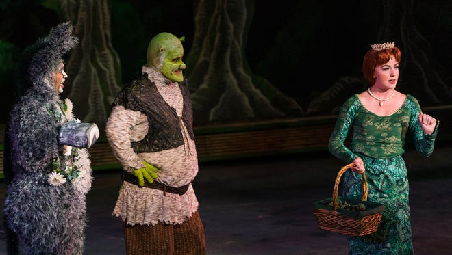 "André Jordan plays Donkey, Steve Judkins plays Shrek and Whitney Winfield plays Princess Fiona in Tuacahn's 2017 production of ""Shrek The Musical."""