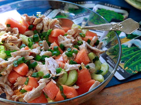 Chicken and Melon Salad is the main event in this garden-themed