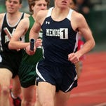 Mendham junior Paul Ehmann leads the field during the anchor leg of the distance medley relay at the Dodgertown Relays at Madison High School. Bob Karp/Staff Photographer/DAILY RECORD
