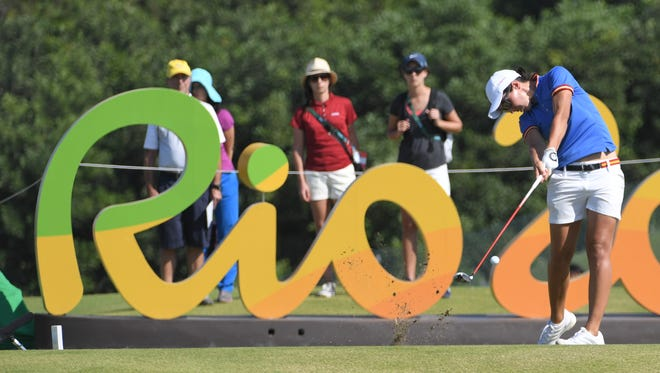 Aug 17, 2016; Rio de Janeiro, Brazil;  Carlota Ciganda (ESP) hits her tee shot on the 16th hole during the first round of the women's golf competition in the Rio 2016 Summer Olympic Games at Olympic Golf Course.