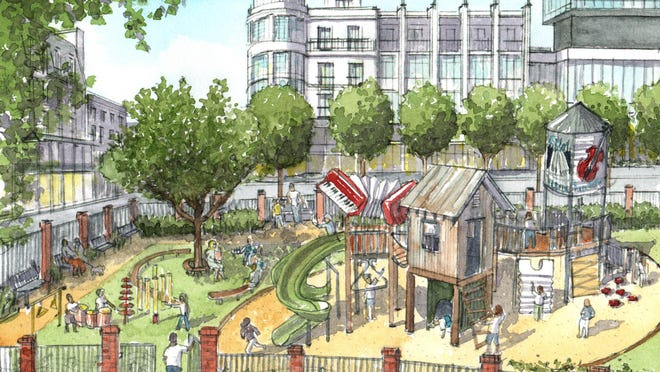 A rendering of a musical playground in downtown Lafayette.