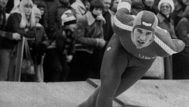 Speedskater Eric Heiden is shown in action during the 5000 meter race in the World Cup Speedskating tournament, Feb. 25, 1979 in Alkmaar, the Netherlands.