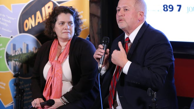 Lilly Goren (left), political science professor at Carroll University, and Rick Esenberg, president of Wisconsin Institute for Law and Liberty, speak about the country's political divisiveness at Across the Divide, a public event hosted by the Milwaukee Journal Sentinel and WUWM 89.7 FM.