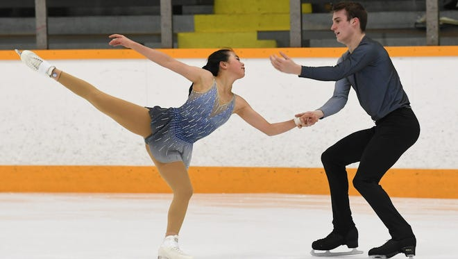 Sarah Feng and TJ Nyman skate during the Junior Division of the 2018 Prudential U.S. Figure Skating Championships.