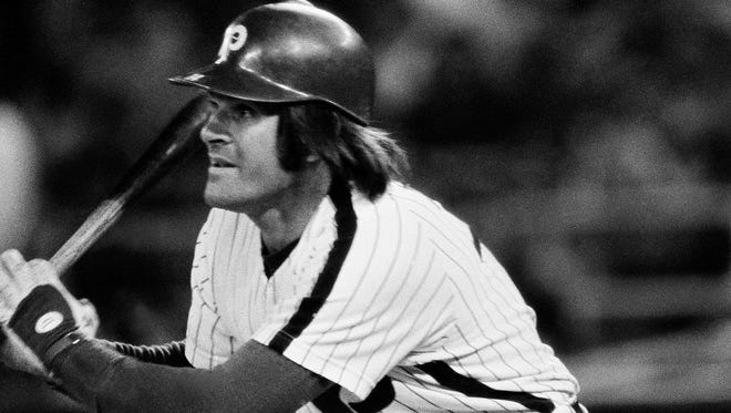 Philadelphia Phillies Infielder Pete Rose, singles in the seventh inning to tie Tommy Holmes for the consecutive game hitting streak in the National League Monday, July 24, 1979 in New York at Shea Stadium.