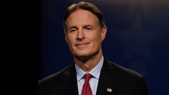 Democrat Evan Bayh faces off on Oct. 18, 2016, in a debate with Republican Rep. Todd Young and Libertarian Lucy Brenton who are competing to fill Indiana's open U.S. Senate seat.