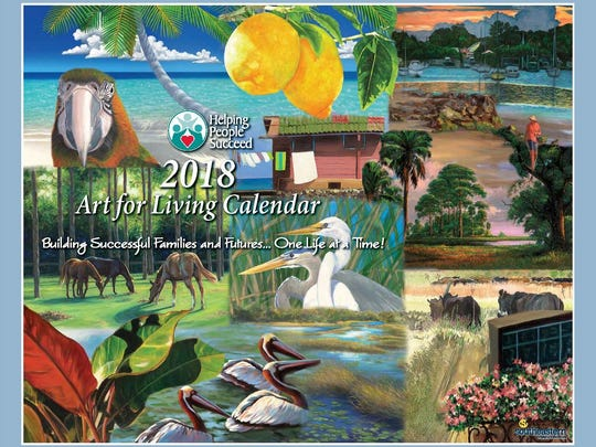 The 2018 Art for Living Calendar features art work on the calendar cover, showing birds, cows, horses, plants, floral scenes, boat yards and more. The art work was designed by 13 artists for the annual calendar.