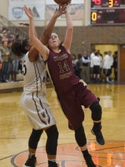 Jamie Winstead of Webster County tries to shoot over Alisha Owens of Henderson County during the third quarter of the game at Henderson County High School in Henderson Tuesday.