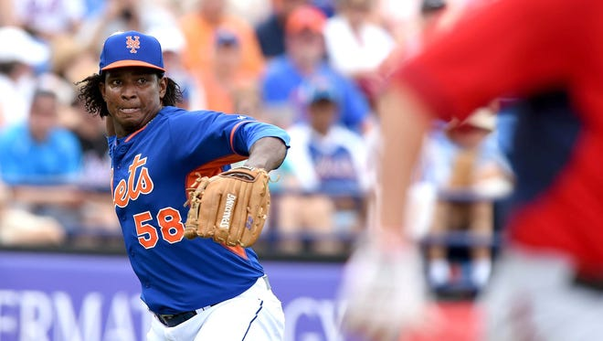 Mets starting pitcher Jenrry Mejia, left, throws out Washington Nationals relief pitcher Tanner Roark at Tradition Stadium on Sunday.