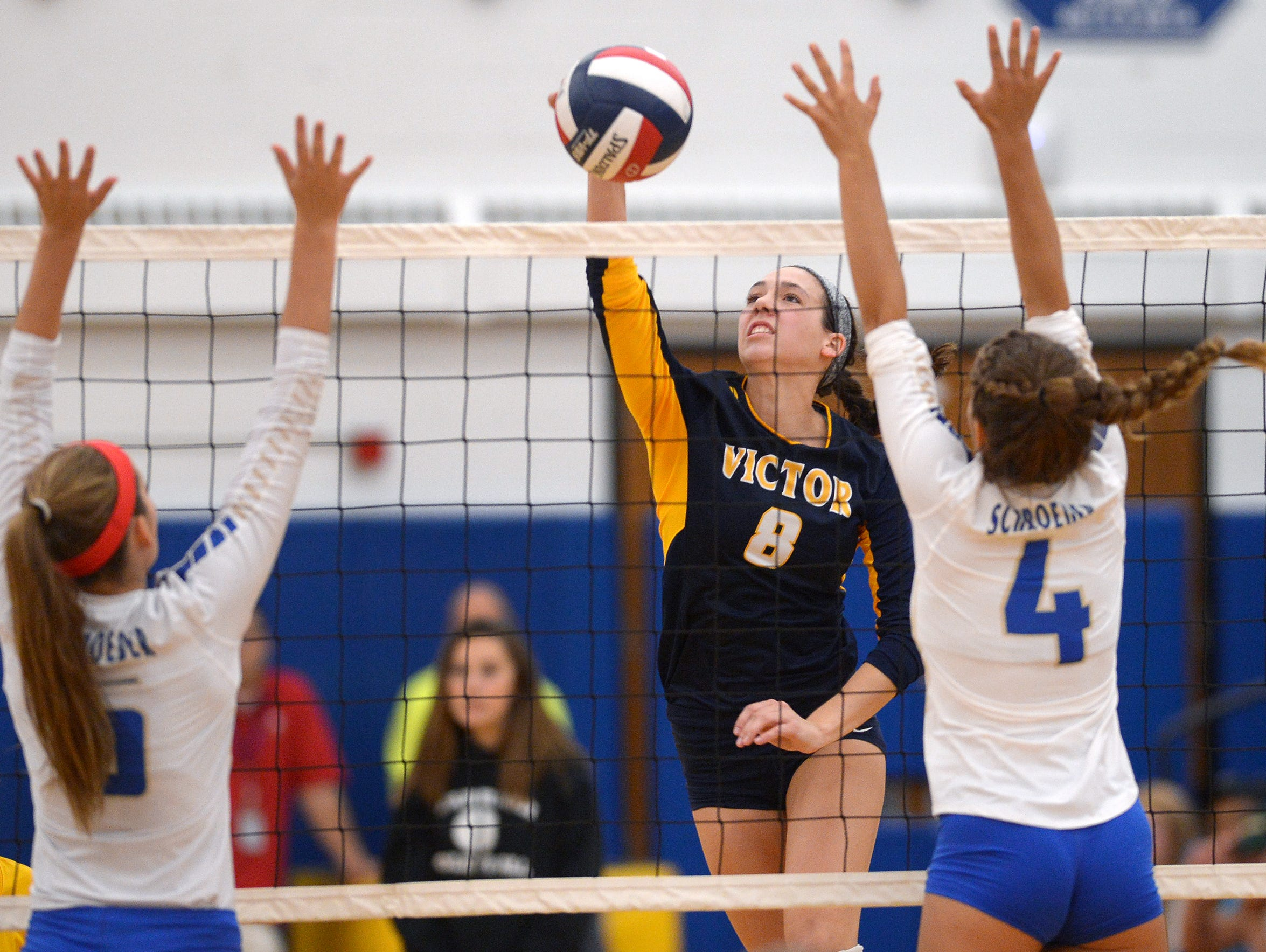 Victor's Amanda Dake, a senior outside hitter, was
