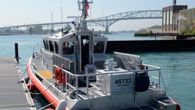 The U.S. Coast Guard 45-foot boat at the Port Huron Coast Guard Station.