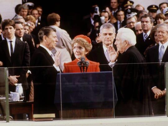 President Ronald Reagan is sworn in on Jan. 20, 1981,