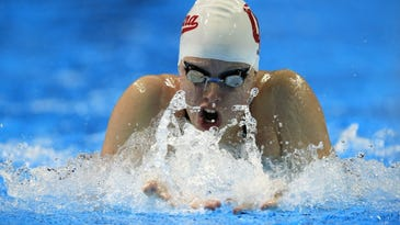 Lilly King swims during a preliminary heat in the women's 100-meter breaststroke at the U.S. Olympic swimming trials in Omaha, Neb., Monday, June 27, 2016. (AP Photo/Orlin Wagner)